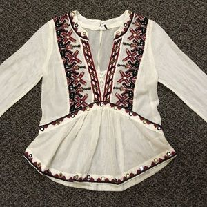 Anthro Akemi + Kin sheer mesh embroidered blouse